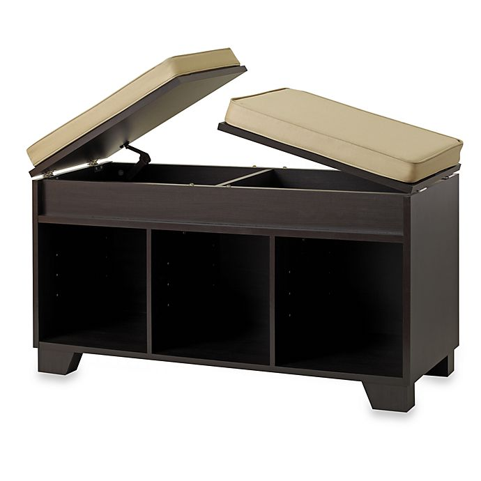 Real Simple® 3 Cube Split Top Storage Bench in Espresso | Bed Bath