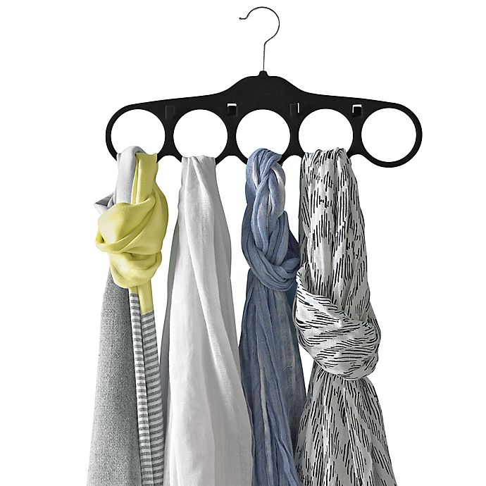Alternate image 1 for Real Simple® 2-pack Slimline Scarf and Belt Hangers in Black