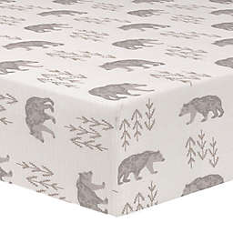 Liz and Roo Cubby Bear Fitted Crib Sheet in Grey