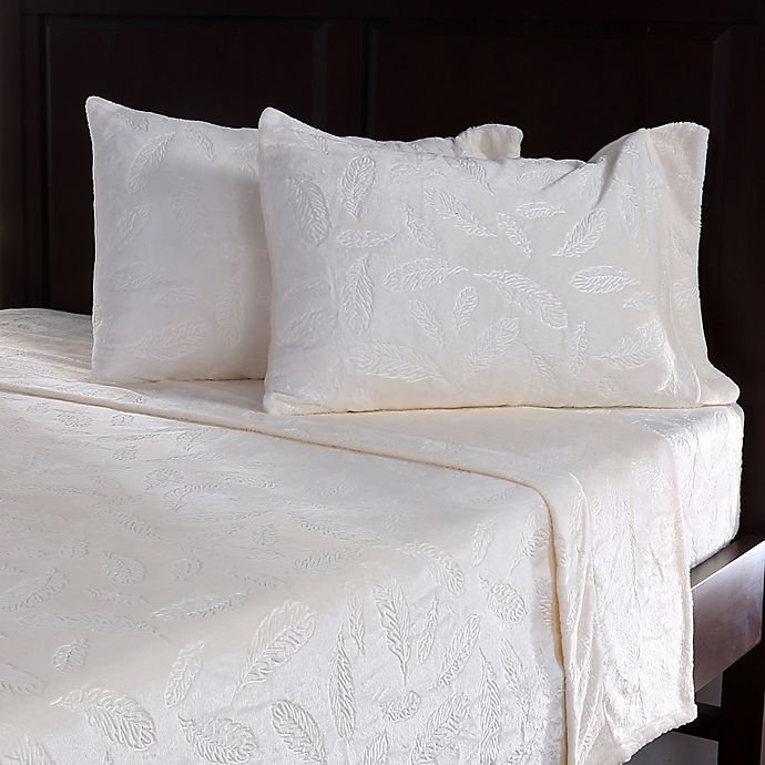 Alternate image 1 for Berkshire VelvetLoft® Embossed Feather Queen Sheet Set in Cream