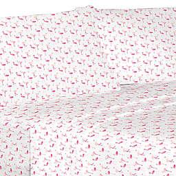 Flamingo Microfiber California King Sheet Set in Pink