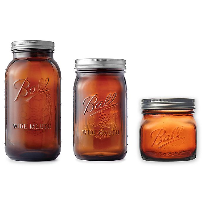 Alternate image 1 for Ball® Elite Wide Mouth Glass Mason Jars in Amber