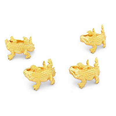 Arthur Court Alligator Napkin Rings in Gold (Set of 4)