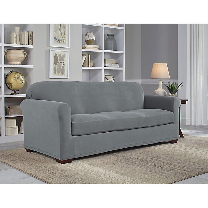 Alternate image 1 for Perfect Fit® NeverWet Luxury 2-Piece Sofa Slipcover in Grey