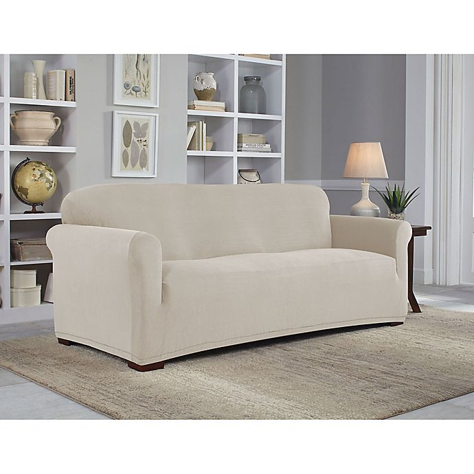 Alternate image 1 for Perfect Fit® NeverWet Luxury Sofa Slipcover in Putty