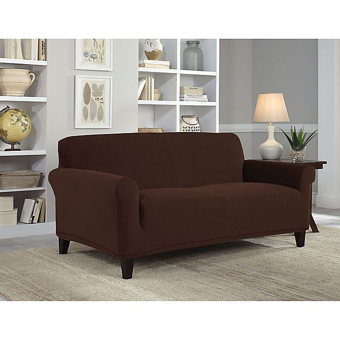 Alternate image 1 for Perfect Fit® NeverWet Luxury Loveseat Slipcover in Chocolate