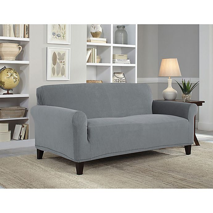 Alternate image 1 for Perfect Fit® NeverWet Luxury Loveseat Slipcover in Grey