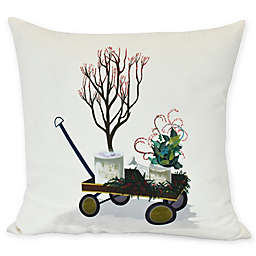 E by Design Farmhouse Holiday Square Pillow in Off White