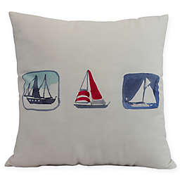 E by Design Boat Trio Square Pillow in Ivory