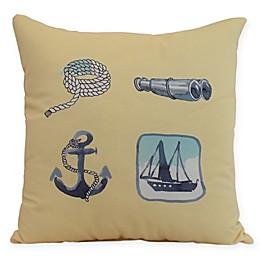 E by Design Sea Tools Nautical Square Throw Pillow