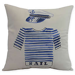 E by Design Captain Shirt Square Throw Pillow in Ivory