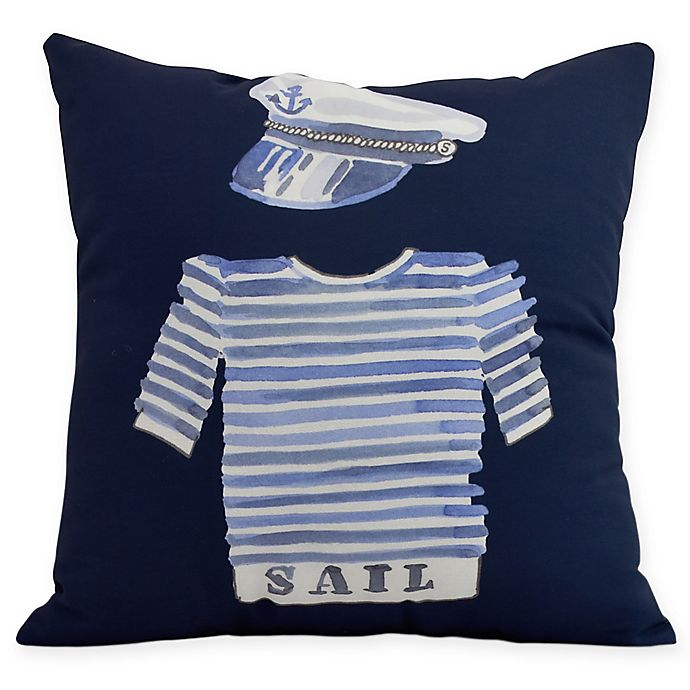 Alternate image 1 for E by Design Captain Shirt Square Throw Pillow in Navy