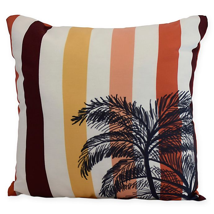 Alternate image 1 for E by Design Thin Stripe Palm Square Throw Pillow in Gold