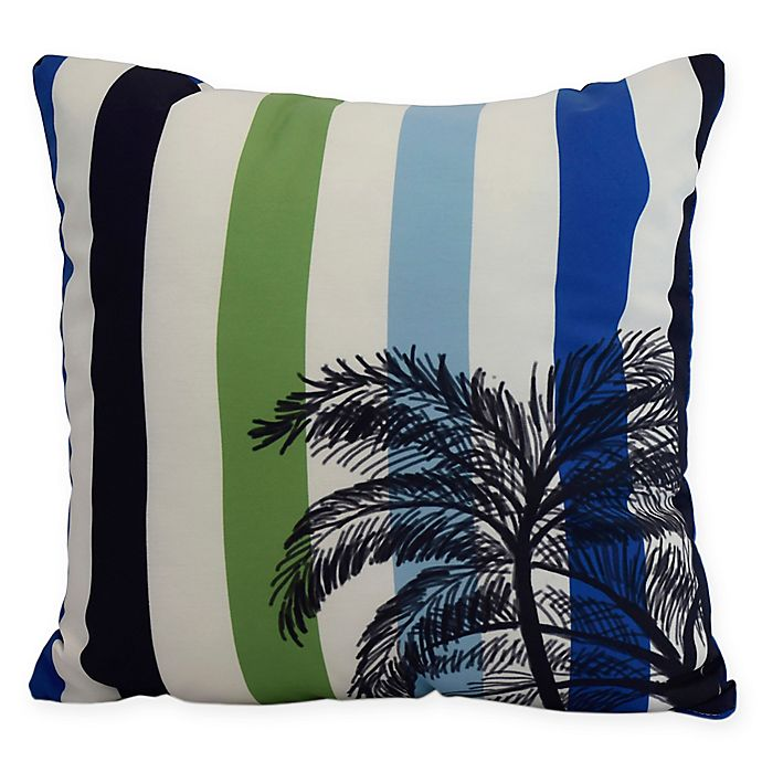 Alternate image 1 for E by Design Thin Stripe Palm Square Throw Pillow in Green