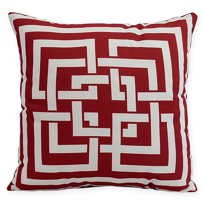 Alternate image 1 for E by Design Greek New Key Square Throw Pillow in Red