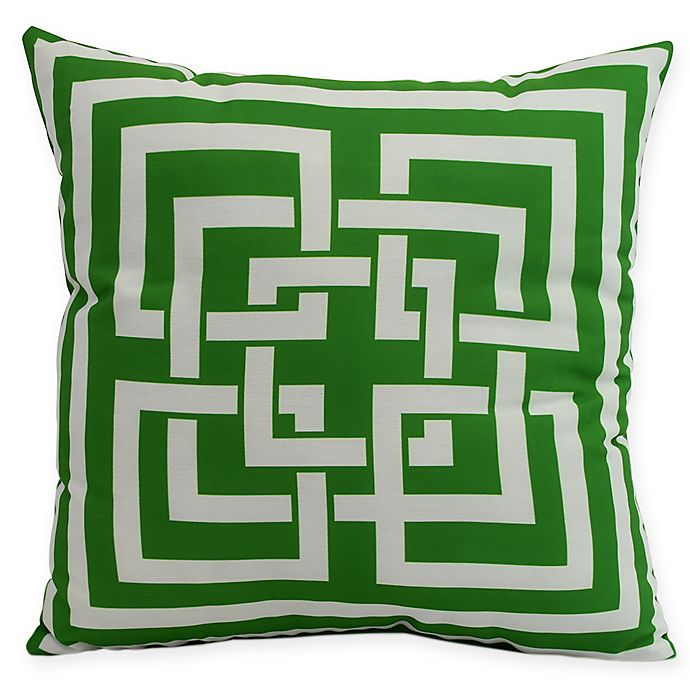 Alternate image 1 for E by Design Greek New Key Square Throw Pillow in Green