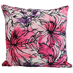 E by Design Zentangle Floral Square Throw Pillow in Black
