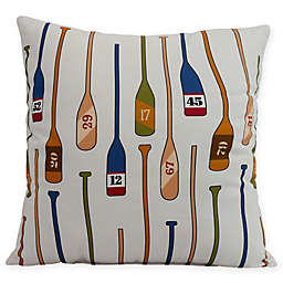 E by Design Oar Numbers Square Throw Pillow in Ivory
