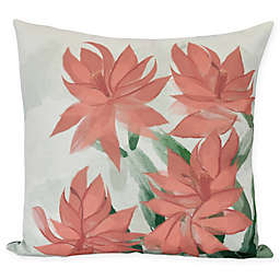E by Design Christmas Cactus Square Throw Pillow in Coral