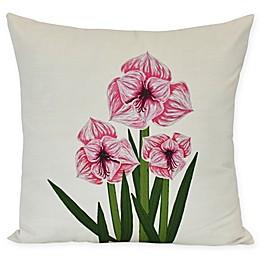 E by Design Amaryllis Square Throw Pillow