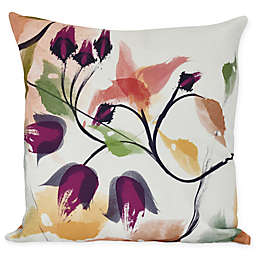 Windy Bloom Floral Throw Pillow in Red