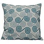 Coastal Rip Curl Square Throw Pillow in Aqua