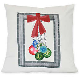 E by Design Frame It Up Square Throw Pillow in Grey