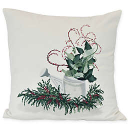 Gardener's Holiday Delight Square Throw Pillow in Green