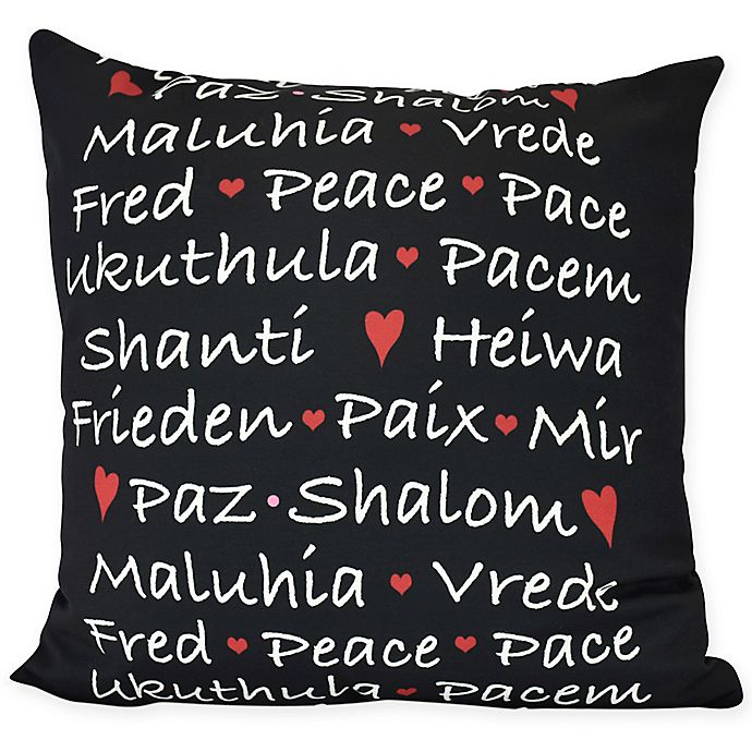 Words Of Peace Square Throw Pillow Bed Bath Beyond