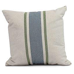 Grain Sack Stripe Square Throw Pillow in Navy Blue