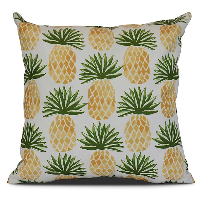 Alternate image 1 for Pineapple Stripes Sqaure Throw Pillow in Green