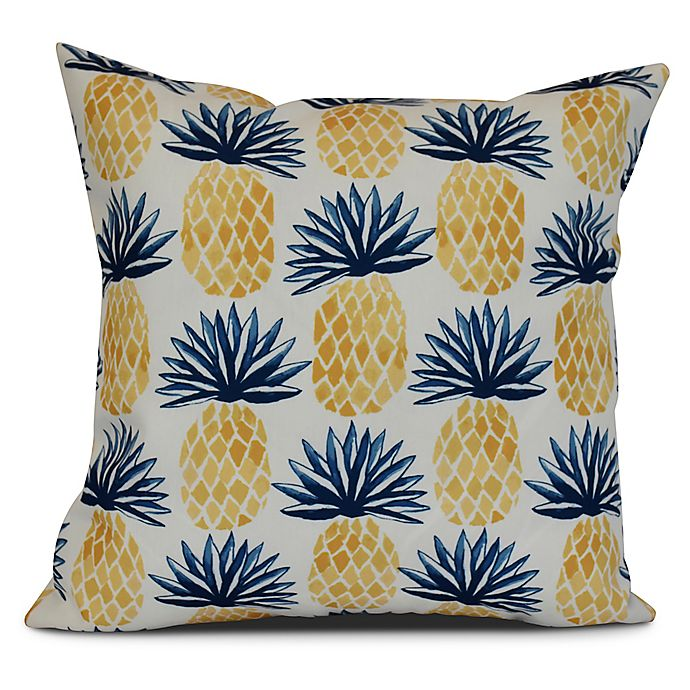 Alternate image 1 for Pineapple Stripes Sqaure Throw Pillow in Blue