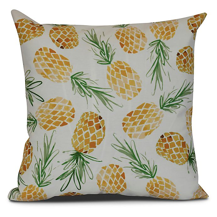 Alternate image 1 for Tossed Pineapples Tropical Sqaure Throw Pillow in Gold