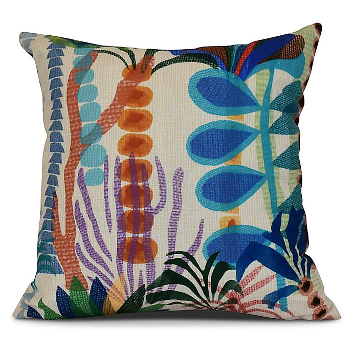 Alternate image 1 for Tropical Jungle Floral Square Throw Pillow in Gold