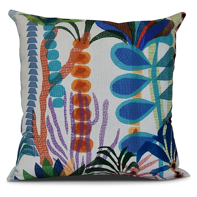 Alternate image 1 for Tropical Jungle Floral Square Throw Pillow in Light Blue