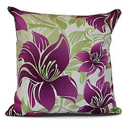 Tree Mallow Floral Square Throw Pillow in Purple