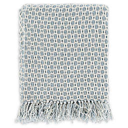 Surya Trestle Throw Blanket in Denim/White