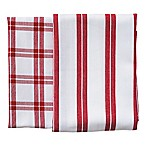 Rue Montmartre Checkered/Striped Kitchen Towels in Red (Set of 2)