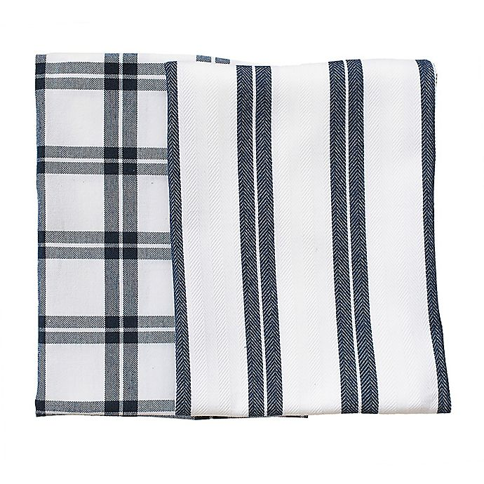 Alternate image 1 for Rue Montmartre Checkered/Striped Kitchen Towels in Blue (Set of 2)