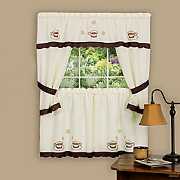 Achim Cuppa Joe Rod Pocket Cottage Window Tier and Swag Set in Brown