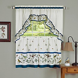 Achim Love Birds Rod Pocket Kitchen Window Tier and Swag Set in Blue