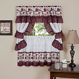 Achim Inspiration Rod Pocket Cottage Window Tier and Swag Set in Spice