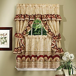 Achim Sunflower Rod Pocket Cottage Window Tier and Swag Set in Antique