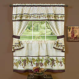 Achim Tuscany Rod Pocket Cottage Window Tier and Valance Set in Red/Green