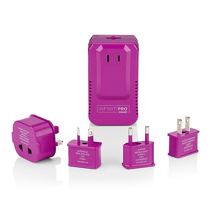 Alternate image 1 for Infiniti Pro by Conair® 5-Piece Travel Adapter Kit in Pink