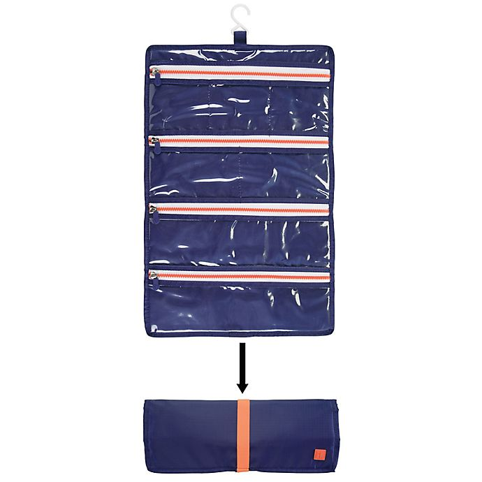 Alternate image 1 for InterDesign® Roll-Up Jewelry Case in Navy