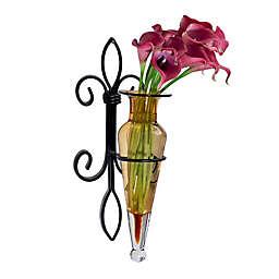 Danya B.™ Glass Amphora Vase with Iron Fleur de Lis Wall Sconce