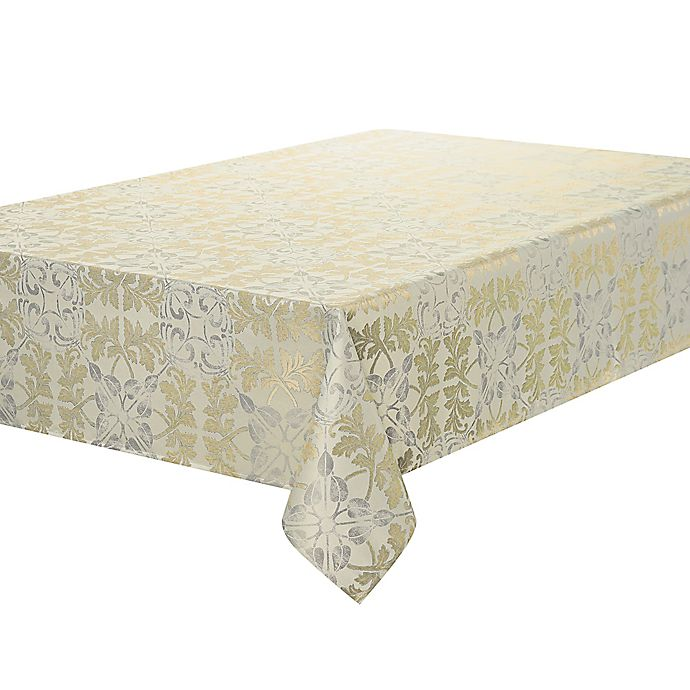 Alternate image 1 for Waterford Linens® Octavia 70-Inch x 84-Inch Oblong Tablecloth in Gold