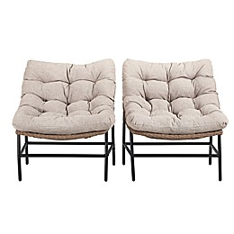 Forest Gate Wicker Papasan Patio Chairs in Natural (Set of 2)