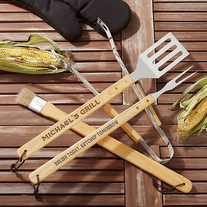 Alternate image 1 for You Name It! 4-Piece BBQ Tool Set